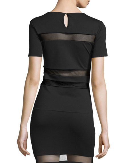 Mesh-Stripe Lux Ponte Shirt, Black