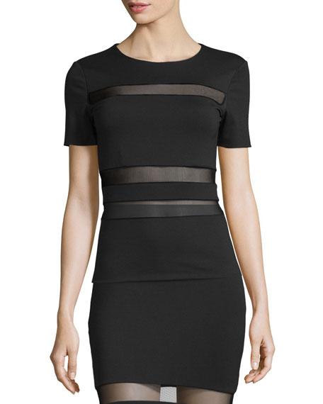 Mesh-Stripe Lux Ponte Shirt, Black