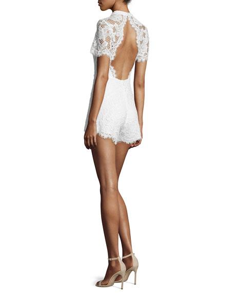 f8c42091a137 Alexis Delfine Short-Sleeve Lace Romper