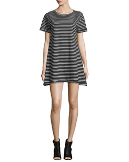 Short-Sleeve Striped T-Shirt Dress, Black/Multi