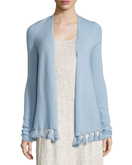 Calypso St Barth Shalona Fringe-Trim Cashmere Sweater, Light Blue