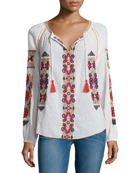 Inabu Embroidered Long-Sleeve Top, Candle White