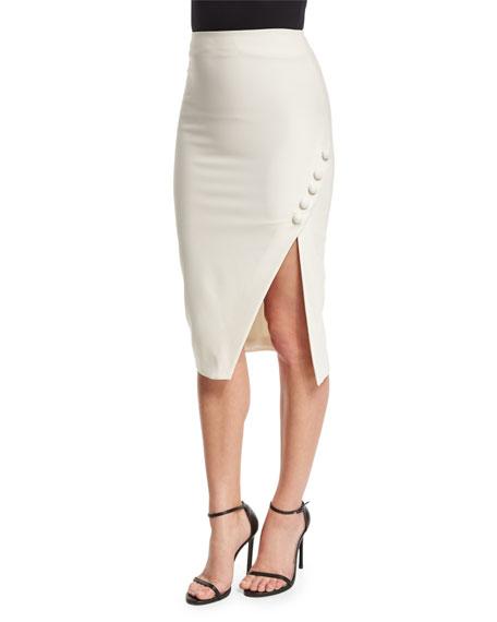 Clementina Asymmetric Pencil Skirt, Ivory