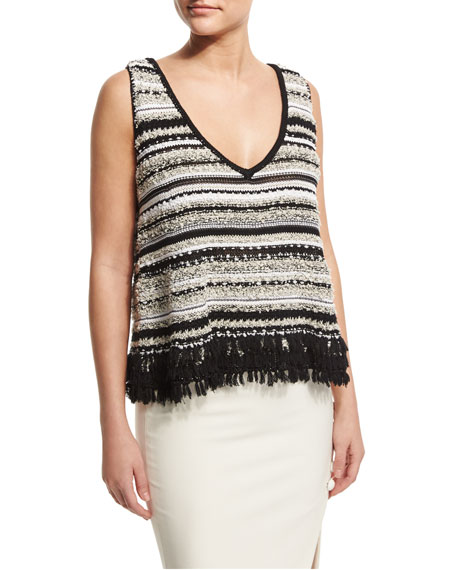Linear Sleeveless Fringe A-Line Top, Black/Optic White