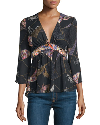 Maura 3/4-Sleeve Printed Blouse, Black/Multi