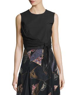 Judith Sleeveless Waist-Tie Top, Black