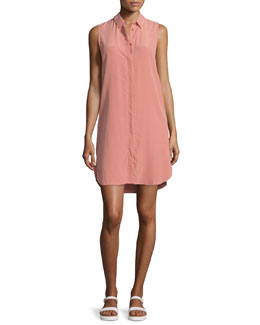 Lanie Sleeveless Button-Front Shirtdress, Desert Sand