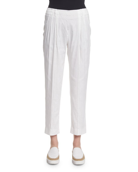 Pleated Silk-Blend Trousers