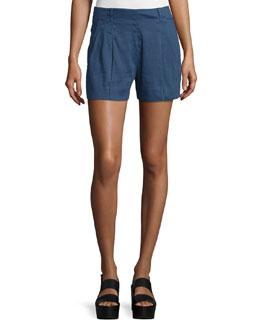 Solid Linen-Blend Shorts, Blue Marine
