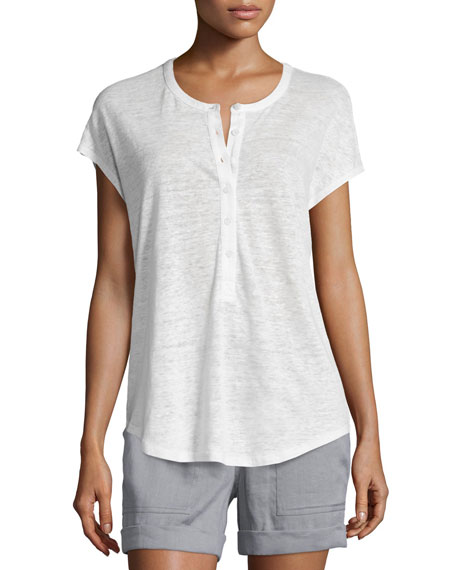 Short-Sleeve Henley Cocoon Shirt