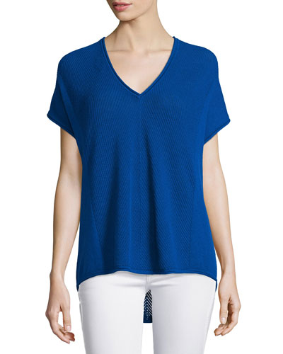 Chevron-Stitched V-Neck Cashmere Shirt