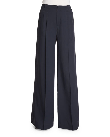 Vince Wide-Leg Pleated Trousers, Coastal