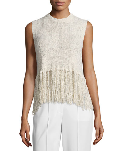 Dylan Sleeveless Popcorn Silk Fringe Top, Natural