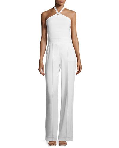 Corinna Crepe Halter Jumpsuit, White