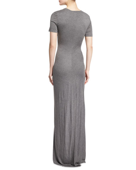 Laila Short-Sleeve Ruched Maxi Dress, Heather Gray