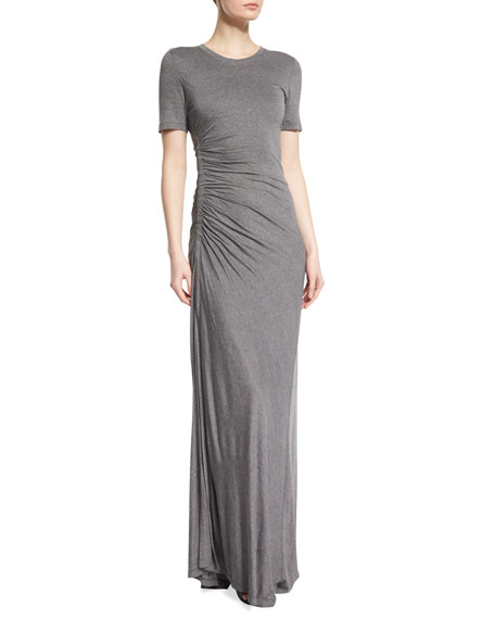 Laila Short-Sleeve Ruched Maxi Dress, Heather Gray