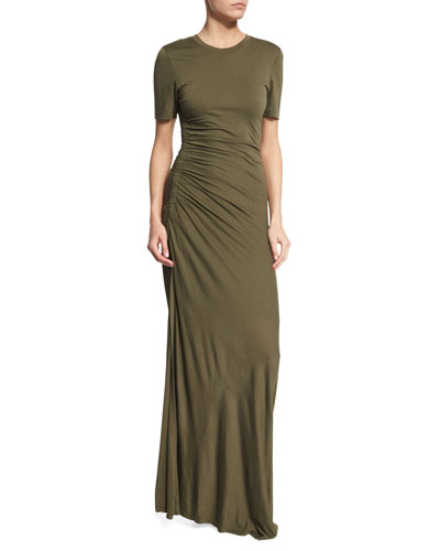 Laila Short-Sleeve Ruched Maxi Dress, Army