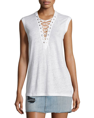 Tissa Slub Linen Lace-Up Top, White