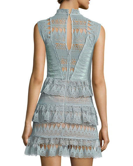Sleeveless Tiered Lace Mini Dress, Mint