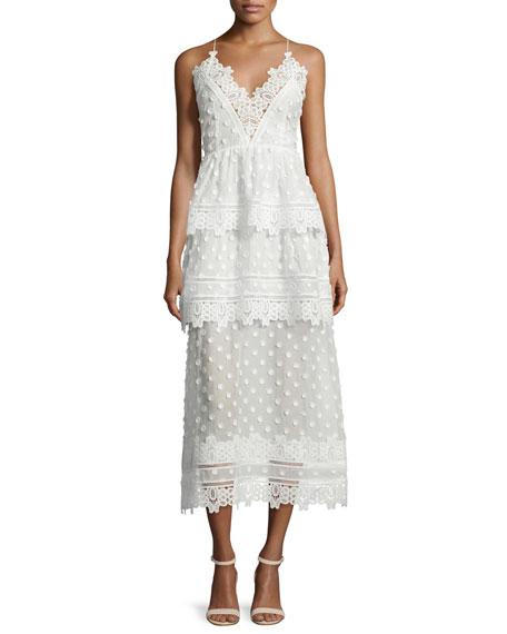 Ivy Lace-Trim Open-Back Midi Dress, White