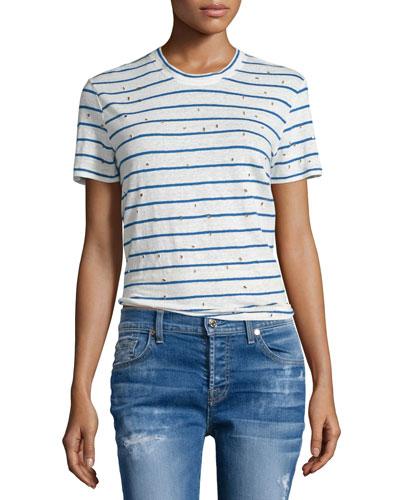 Mina Striped Linen Tee, Ecru/Blue
