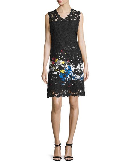 Tinley Sleeveless Lace Sheath Dress, Multi Garden