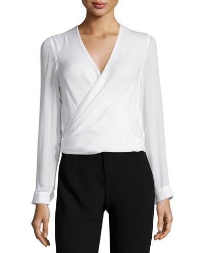 Gia Long-Sleeve Silk Surplice Top, Ivory