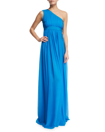 Ophelia Ruched Silk One-Shoulder Gown, Atlantis Blue