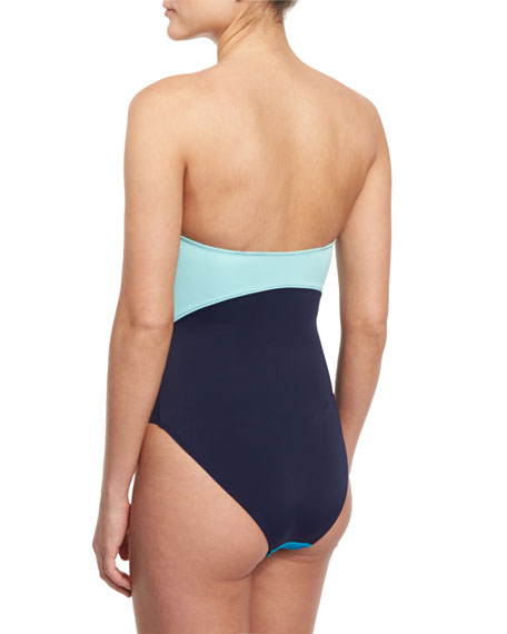 Barbados Colorblock Bandeau One-Piece Swimsuit