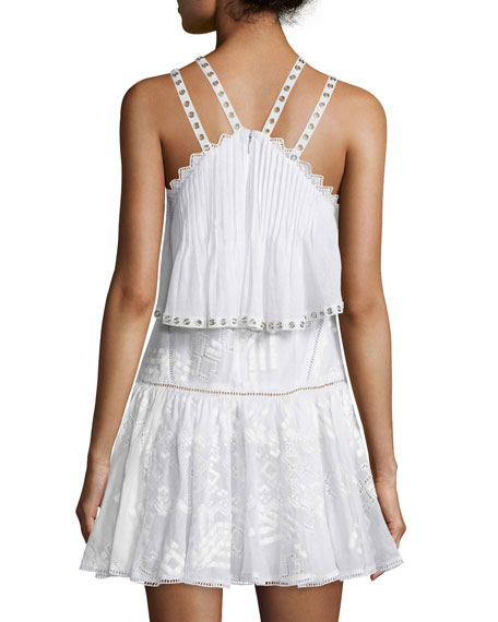 Sleeveless Embroidered Popover Camisole Dress, Snow