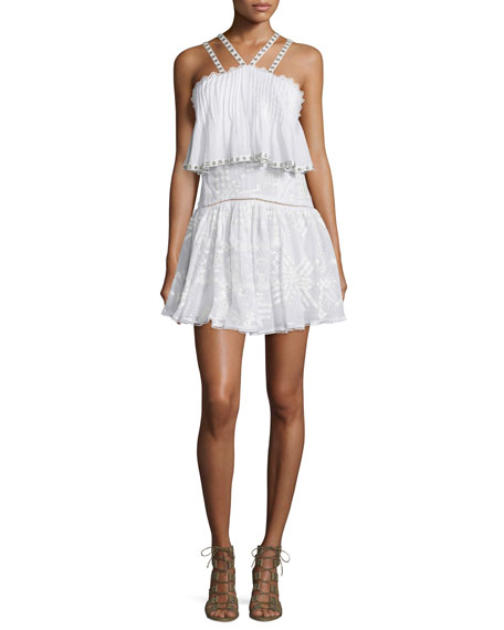 Rebecca Taylor Sleeveless Embroidered Popover Camisole Dress,