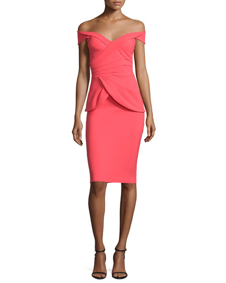 Benny Off-the-Shoulder Peplum Cocktail Dress