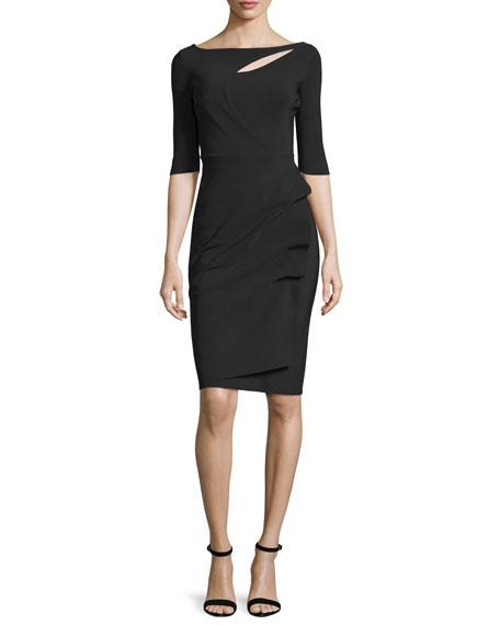 Joandra Half-Sleeve Yoke-Cutout Ruched Dress, Nero