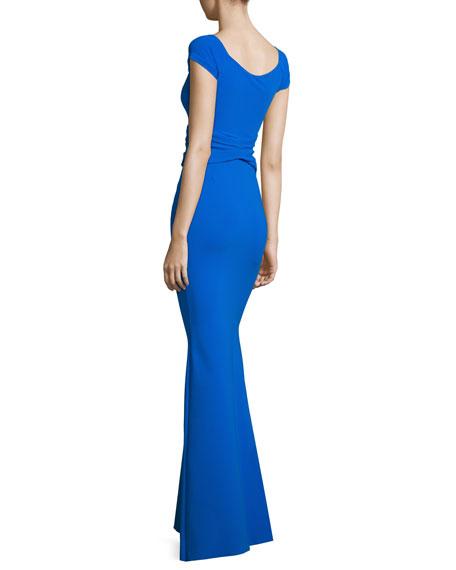 Renella Off-the-Shoulder V-Neck Mermaid Gown, Cobalt
