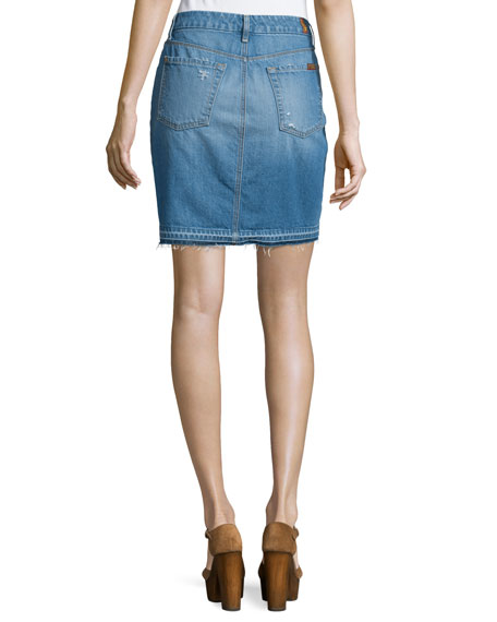 Denim Mini Skirt W/Released Hem, Blue