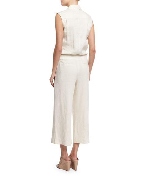25d23637c9c7 Linen-Blend Sleeveless Belted Utility Jumpsuit