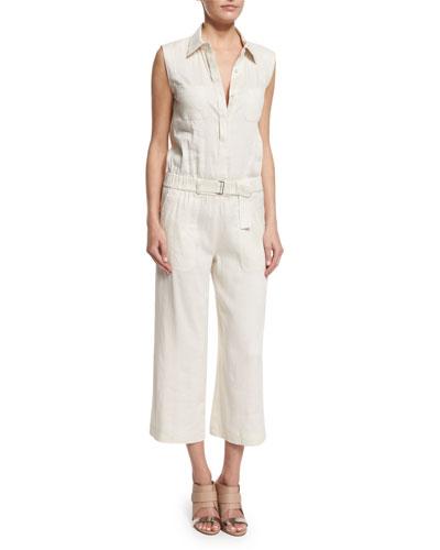 Linen-Blend Sleeveless Belted Utility Jumpsuit