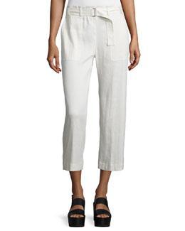 Linen-Blend Belted Culottes, Larache