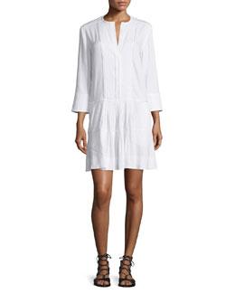 Pleated Drop-Waist Linen Dress