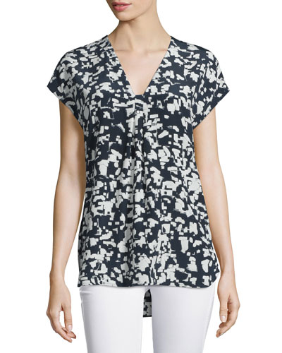 Confetti-Print Silk V-Neck Top