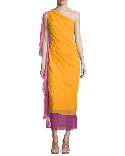 Nori Colorblock Silk Maxi Dress, Saffron