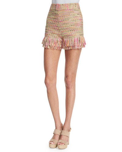 Ray Tiered-Fringe Jute Shorts, Multicolor