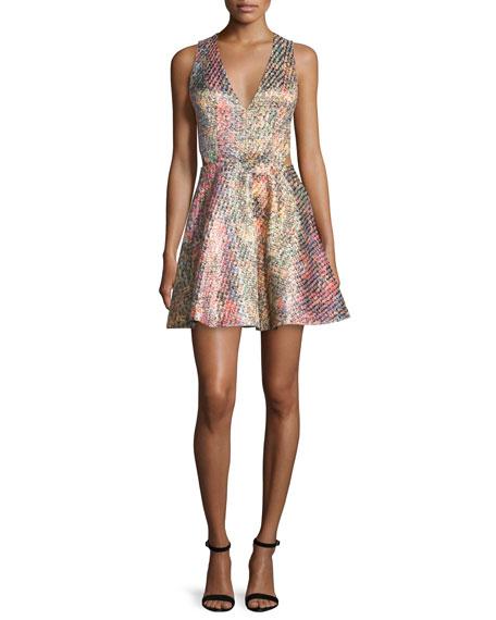 Varita Printed Fit-and-Flare Dress, Multicolor