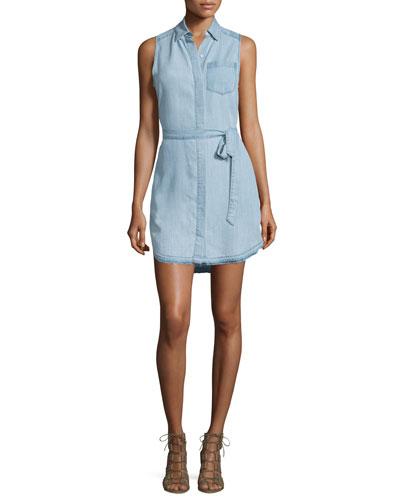 Crosby & Broome Sleeveless Shirtdress, Light Blue