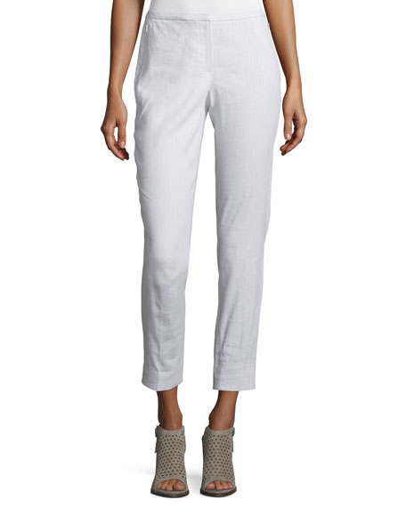 Marcia Slim-Leg Linen-Blend Cropped Pants, White/Gray
