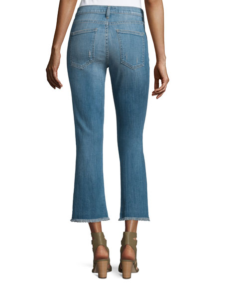 The Kick Flare-Leg Cropped Jeans, Blue Ocean Destroy
