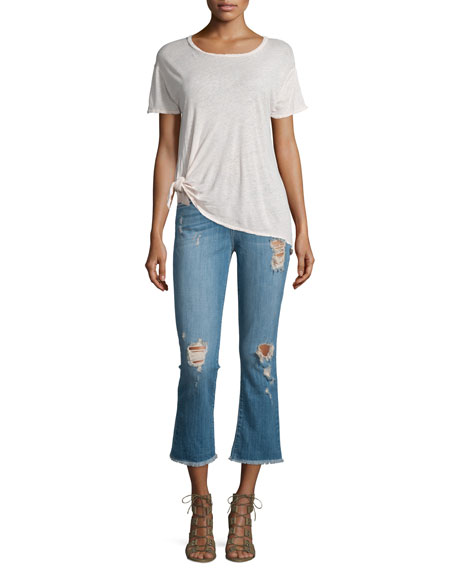 The Kick Flare-Leg Cropped Jeans, Blue Ocean Destroy