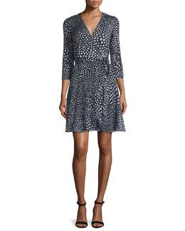 Irina Silk Wrap Dress, Black