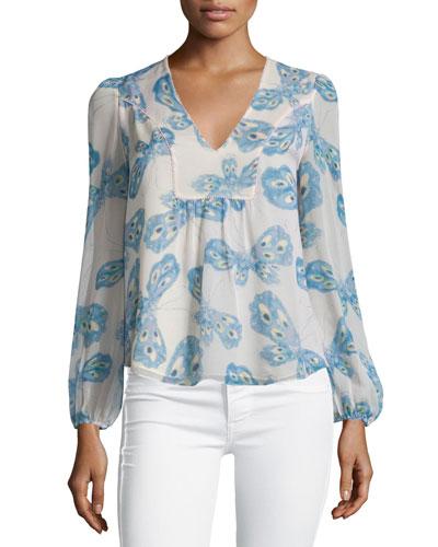 Maslyn Silk Butterfly Top, Periwinkle