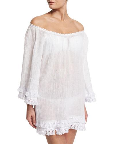 Tammy Tassel-Trim Off-Shoulder Coverup Dress, White